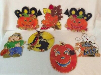 7 Suncatchers Stained Glass Plastic Halloween Scarecrow/Witch/Ghost/Pumpkins