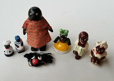 Black Americana Lot (7) Shakers, Mini Figurines, Enameled Bell, Folk Figurine ++