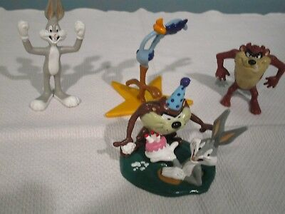 4 Looney Tunes 90s Warner Bros Bugs Bunny Taz Road Runner Figures Cake Topper