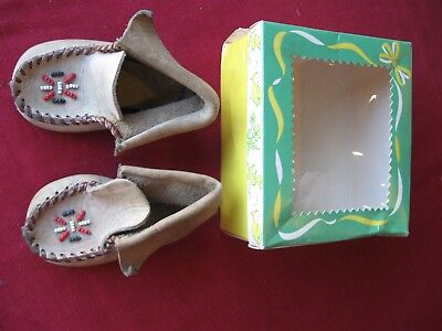 "Vintage Baby Shoes LEATHER MOCCASINS w/Box 4-1/4"" long Beadwork intact"