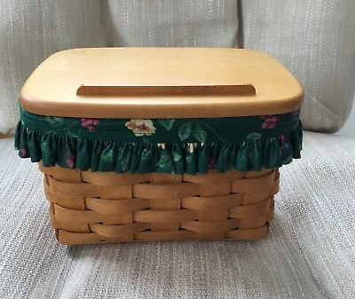 Longaberger 1995 Classic Stain Recipe Basket W/ Protector, Lid And Plastic Liner