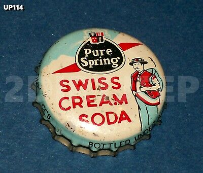 Pure Spring Swiss Cream Soda Pop Used Man Mountains Old Creme Bottle Cap Up114