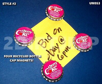Refrigerator Soda Art Coca-Cola Cherry Coke #2 Magnets Recycled Bottle Cap Um053