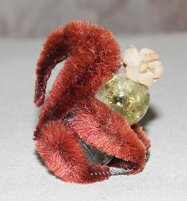 "Vintage Squirrel Figurine Marble Pipe Cleaner Flower Brown 2"" Tall"