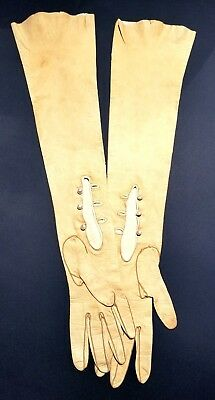 """Opera Gloves 20-1/2"""" Camel Tan Kid Leather Pearl Buttons Vintage Antique Long NR"""