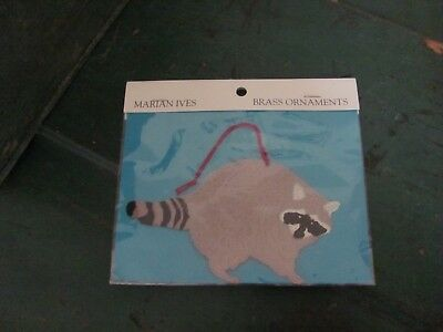 NIP Raccoon Brass Christmas Tree Ornament from Marian Ives