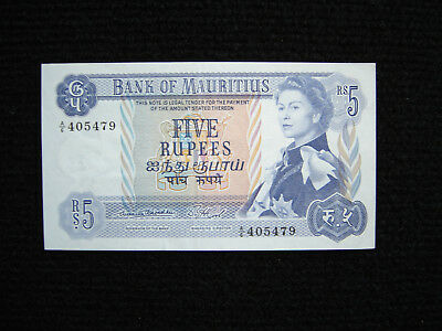 Mauritius P-30a ND 1967 5 Rupees XF