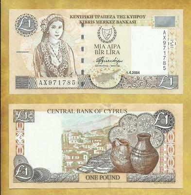 Cyprus 1 Pound 2004 Prefix AX P-60d Unc Currency Banknote ***USA SELLER***