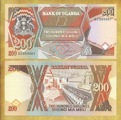 Uganda 200 Shillings 1996 Prefix DZ P-32 Unc Currency Banknote ***USA SELLER***