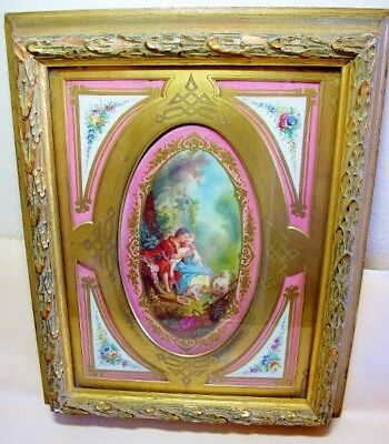 19th Century French Sevres Porcelain Lovers & Sheep Portrait Plaque.