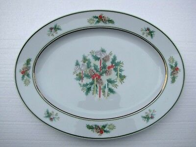 Noritake China  Oval Serving Platter Holly 2228 Christmas