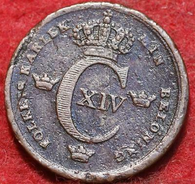 1839 Sweden 1/6 Skilling Foreign Coin