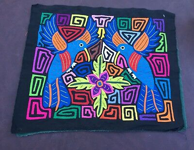 VERY COLORFUL MOLA Art  Vintage Reverse Appliqué San Blas Kuna Panama BIRDS!