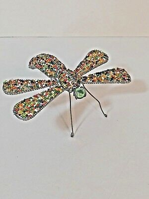 Glass Bead and Wire Dragonfly Folk Art Sculpture