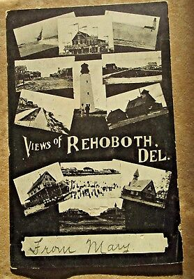 """1907 Undivided back RPPC """"Views of Rehoboth, Del""""- 12 images of Horn's postcards"""
