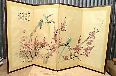 Vintage Japanese Chinese 4 Panel Folding Screen Byobu Painted 60x35 asian signed