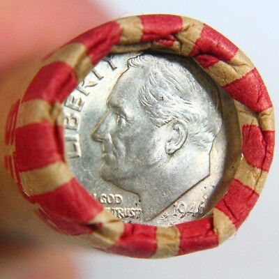 1946 Silver Roosevelt Dime Showing on the End of 50 Coin Wheat Cent Roll 1a