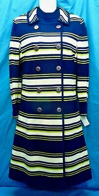 "Nwt Vintage ""sibley's"" Fine 100% Wool Knit A-Line Dress & Striped Coat Set-10"