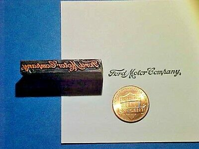 FORD MOTOR COMPANY Script Header VERY OLD! Car Co. 1903 Letterpress Printers Cut