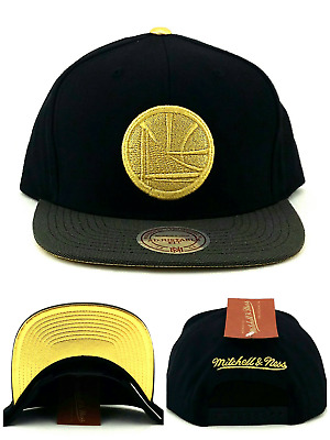 Golden State Warriors New Mitchell   Ness Black Gold Tip Era Snapback Hat  Cap 3e1f7baf617c