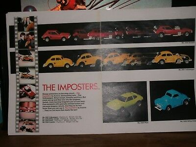 """1972 Aurora Imposters Catalog 2 page ad Willys. VW, Pinto, Gremlin 11"""" X 17"""""""