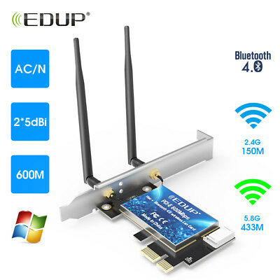 2.4G/5G Bluetooth 600Mbps Dual Band PCI Express Network Card Wlan WiFi Adapter