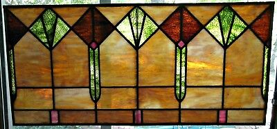 Antique Stained Glass Window Transom Lead American Translucent Green Amber Pink
