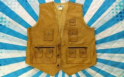 Vtg The Daily Planet Leather Hunting Fishing Photography Vest XL