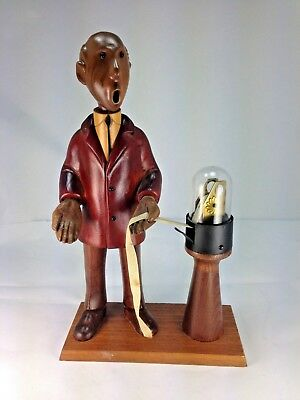 """Vintage Hand Carved Wood Italian """"The Stockbroker with Tape Machine"""" Statue"""