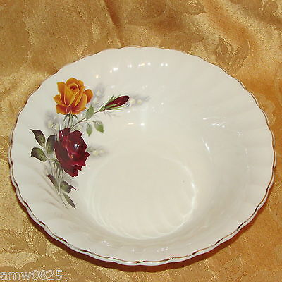 Vintage Myott Vegetable Bowl Red Yellow Roses Ironstone Round Open England #2