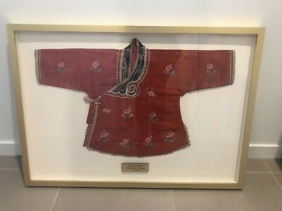 REDUCED Framed Antique Qing Dynasty Chinese Silk Babies Jacket Circa 1900