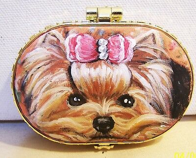 hand painted Yorkshire Terrier on compact mirror fancy cushioned