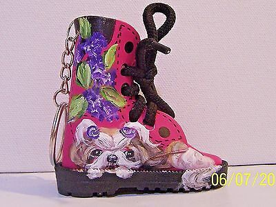 Shih Tzu hand painted mini faux leather boot key ring real shoestrings