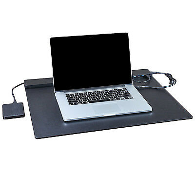 Leather Desk Pad Protector 24''X19'', Office Desk Mat Blotter with 4 Ports USB