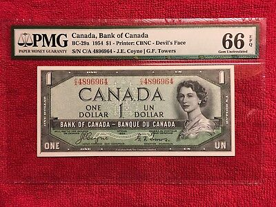 """Bank of Canada BC-29a 1954 1 Dollar Devil's Face PMG 66EPQ and """"Great Embossing"""""""