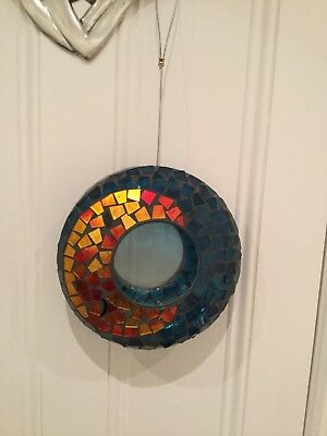 Glass Mosaic Bird Seed Feeder with wire loop