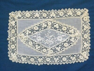 Irish Crochet and Whitework Dressing Table Mat, Lace, Antique, Vintage,