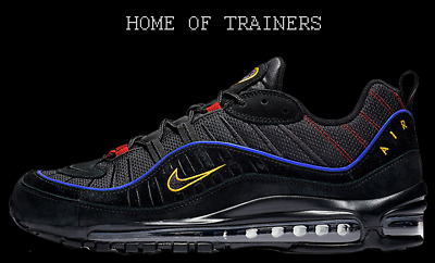 NIKE AIR MAX 98 Black Blue Red Yellow Men's Trainers All Sizes