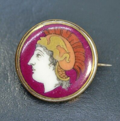 Georgian GREEK or ROMAN PORTRAIT Unusual Liverpool Transfer Ceramic BROOCH Pin