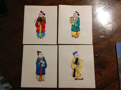 Vintage 4 Chinese people in silk clothes set on cards 1980s beautiful