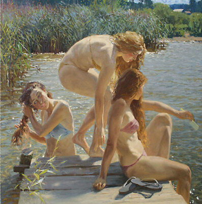 ZOPT652 three beautiful girls bath in river hand paint art OIL PAINTING CANVAS