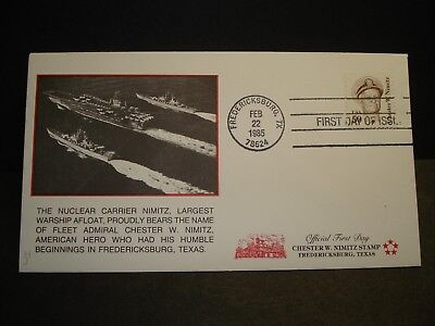 USS NIMITZ CVN-68 Naval Cover 1985 FIRST DAY of ISSUE Cachet Chester Nimitz