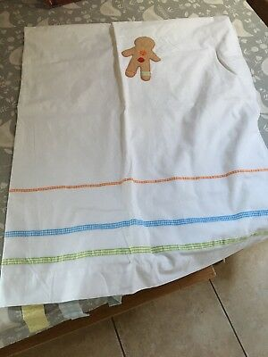 Mamas And papas Tab Top Gingerbread Nursery Curtains Blackout Lining White Baby