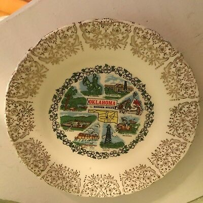 """Vintage Souvenir Collector Oklahoma the Sooner State 7"""" commemorative  plate"""