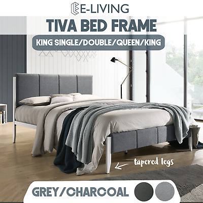 King Single Double Queen Size Fabric Upholstered Bed Frame in Grey or Charcoal