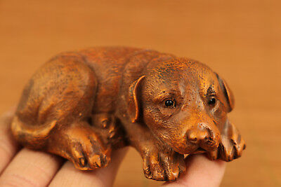 chinese old boxwood hand carved lovely dog statue netsuke collectable