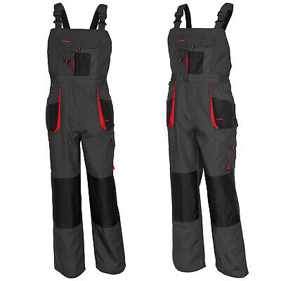 UK - Bib and Brace Overalls Heavy Duty Work Trousers Dungarees Knee Pad Pockets