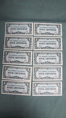 Lot of 10 WWII Japanese 5  Centavos Paper Philippines Occupation Money