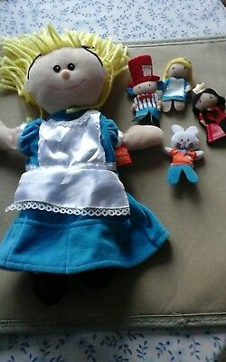 Tellatale puppets Alice hand and 4 related finger puppets