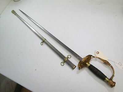 Civil War Militia Model 1860 Us Officers Sword W Scabbard Boston Maker Etch #w39